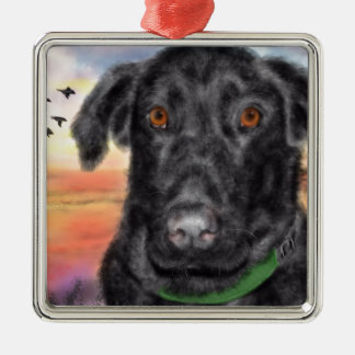 Bird dog metal ornament
