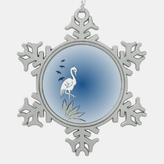 Bird [Egret] Plain Background Snowflake Pewter Christmas Ornament