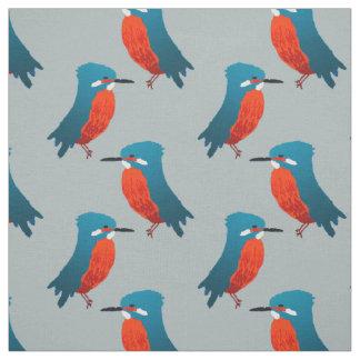 Bird Fabric: Teal Blue & Scarlet Kingfishers Fabric