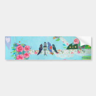 Bird Family Art Collage Bumper Stickers