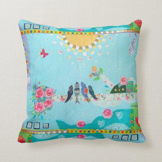 Bird Family Art Collage Throw Pillow