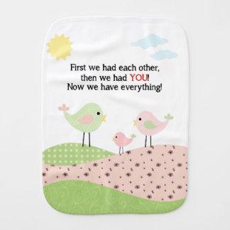 Bird family Burp Cloth
