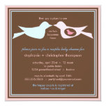 """Bird Family Couples Baby Shower 5.25"""" Square Invitation Card"""
