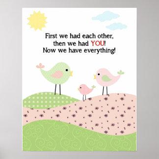 Bird family poster for child's room