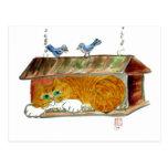 Bird Feeder and Orange Tiger Cat Postcard
