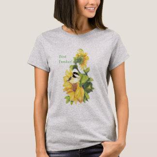 Bird Feeder Humor with Chickadee on Sunflowers T-Shirt