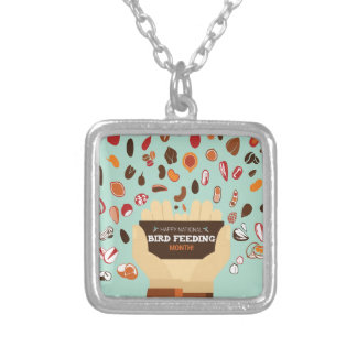 Bird-Feeding Month February - Appreciation Day Silver Plated Necklace