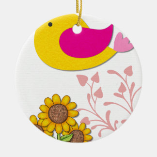 bird Floral, Art, Design, Beautiful, New, Fashion Ceramic Ornament