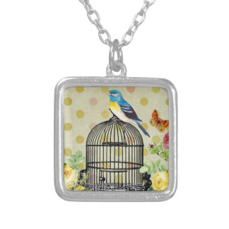 bird Floral, Art, Design, Beautiful, New, Fashion Silver Plated Necklace