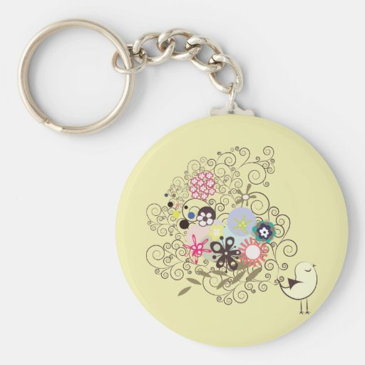 Bird ~ Flower Flowers Scroll Folk Art Key Chains