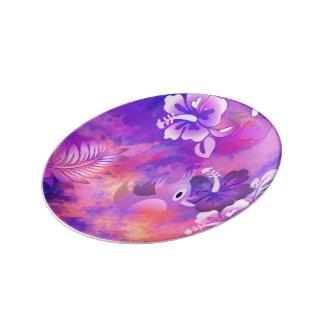 """Bird Flowers Abstract Art 8.5"""" Porcelain Plate"""
