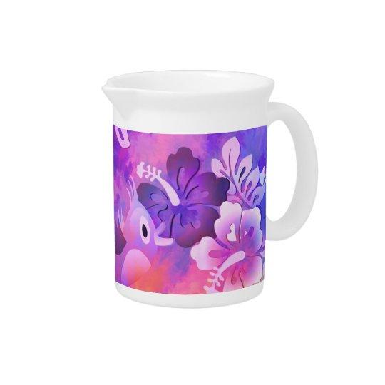 Bird Flowers Abstract Art Design Porcelain Pitcher