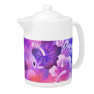Bird Flowers Abstract Art Medium Porcelain Teapot