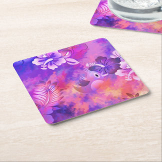 Bird Flowers Abstract Art Square Coasters-Set of 6 Square Paper Coaster