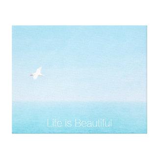 Bird Flying over Ocean in Hawaii Inspirational Canvas Print