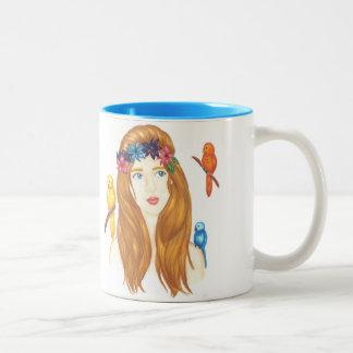 Bird Girl Mug 11oz White Light Blue