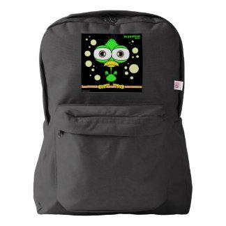 Bird(Green) Backpack, Black Backpack