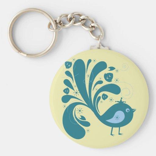 Bird ~ Green & Blue Song Birds Songbird Key Chain