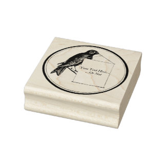 Bird Holding Empty Sign Vintage Rubber Art Stamp