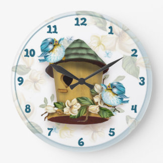 BIRD HOME SONGS LARGE ROUND CLOCK LARGE