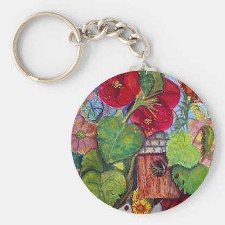 Bird House Cottage Garden Basic Round Button Keychain