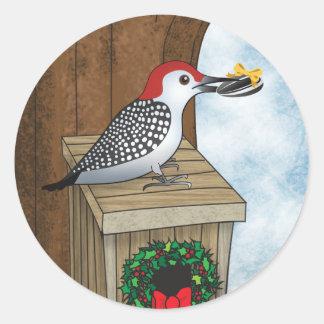 Bird House Holiday Round Sticker