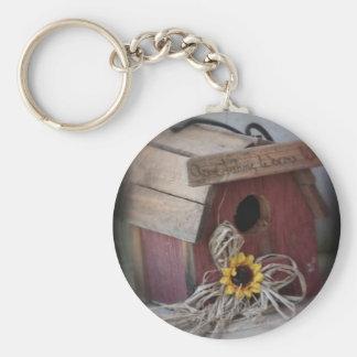 Bird House Basic Round Button Keychain