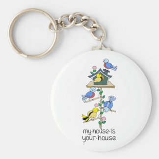 Bird Houses My House is Your House Basic Round Button Keychain