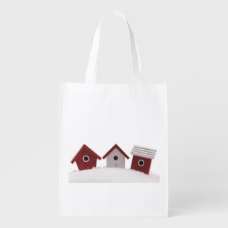 Bird houses reusable grocery bag