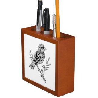 Bird illustrated with Love Word Desk Organizer