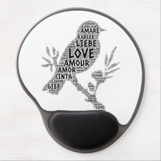 Bird illustrated with Love Word Gel Mouse Pad