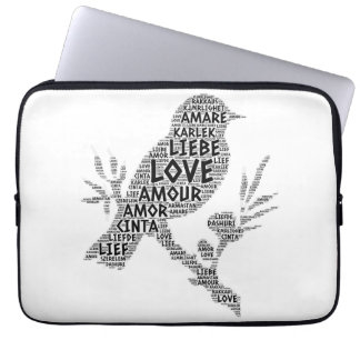 Bird illustrated with Love Word Laptop Sleeve