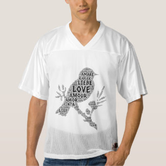 Bird illustrated with Love Word Men's Football Jersey