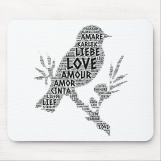 Bird illustrated with Love Word Mouse Pad