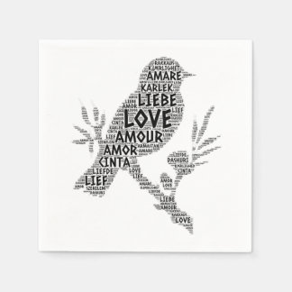 Bird illustrated with Love Word Paper Napkin