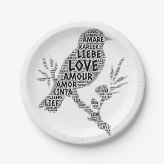 Bird illustrated with Love Word Paper Plate