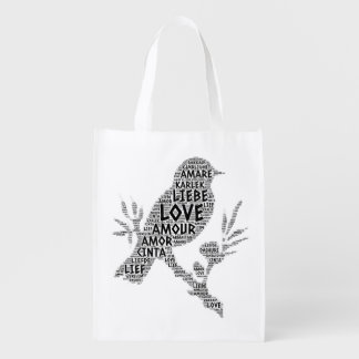 Bird illustrated with Love Word Reusable Grocery Bag