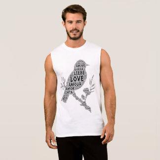 Bird illustrated with Love Word Sleeveless Shirt