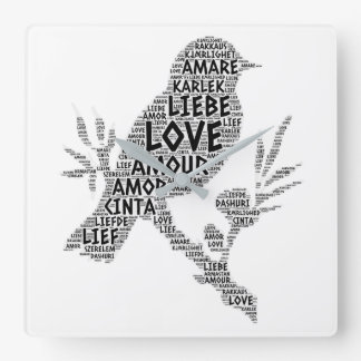 Bird illustrated with Love Word Square Wall Clock