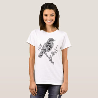 Bird illustrated with Love Word T-Shirt