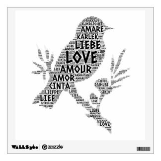 Bird illustrated with Love Word Wall Sticker