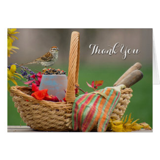 Bird in a basket thank you note card