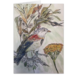 Bird in fall foliage card