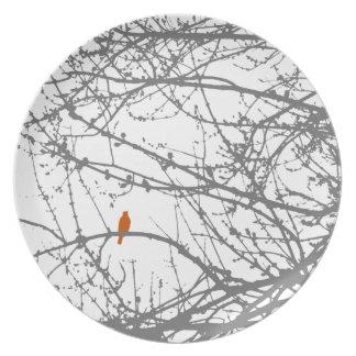 Bird in Maple - orange and grey Plate