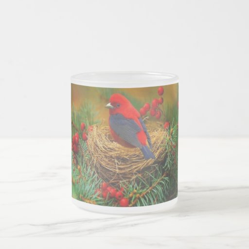 Bird in Nest Frosted Glass Mug