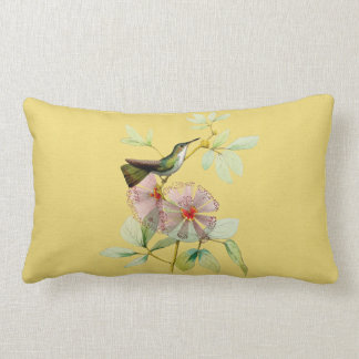 Bird in Powder Puff Tree Botanical Lumbar Pillow