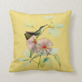 Bird in Powder Puff Tree Botanical Pillow 16x16