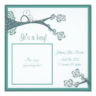 "Bird in Tree Baby Announcement 5.25"" Square Invitation Card"