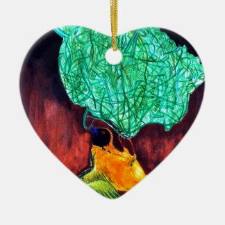Bird Knitting Nest Ceramic Heart Ornament