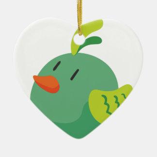 bird looking at the sky ceramic heart ornament